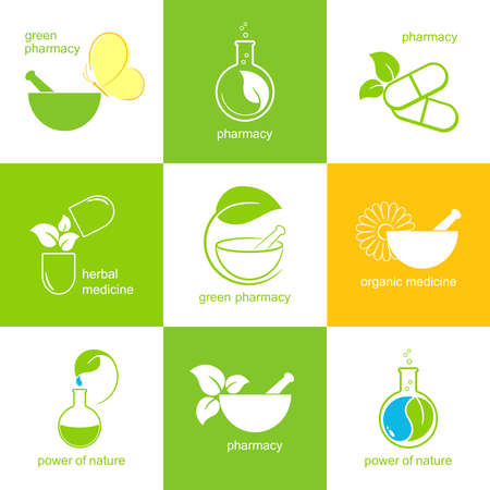 mortero: Conjunto de iconos y emblemas de la farmacia y la medicina a base de hierbas