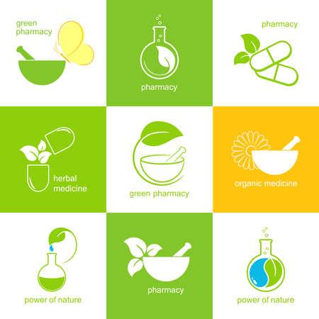 Set Ikonen und Embleme für Pharmazie und Kräutermedizin Vektorgrafik