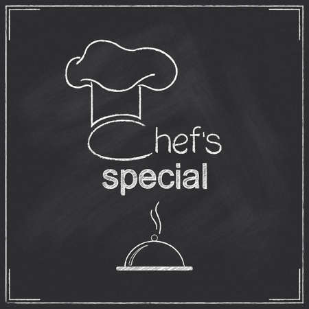 Design for restaurant Chef s special menu in chalkboard style Ilustrace
