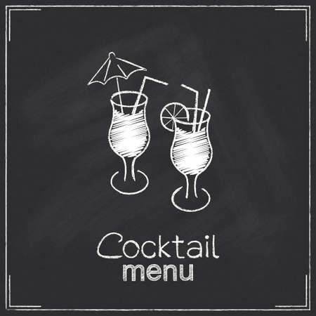 Design for cocktail menu in chalkboard style Vector