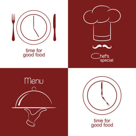 food tray: Set of icons and emblems for restaurant menu design