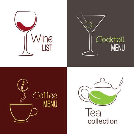 Set of icons and emblems for restaurant drinks menu design Vector