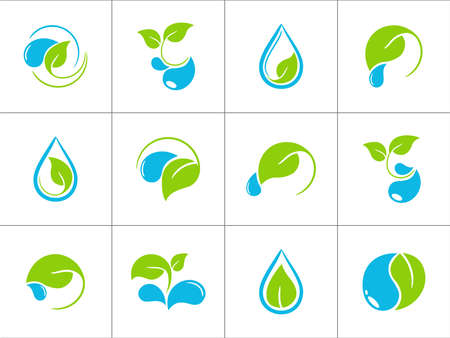 Set of icons with green leaves and water drops for ecological and organic design Vector