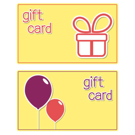 present box: Gift cards templates with present box and balloons stickers