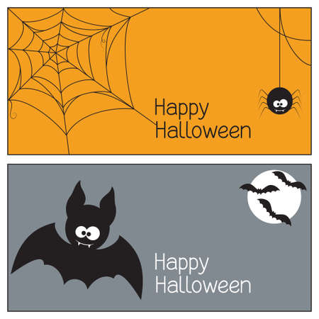 fang: Set of Halloween banners with spider, web and bats