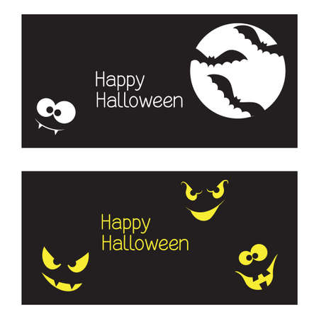 Set of Halloween banners with spooky and crazy monster faces in the dark Vector