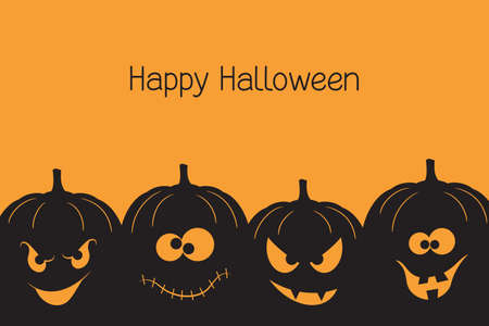 Banner with spooky and crazy Halloween pumpkins Vector