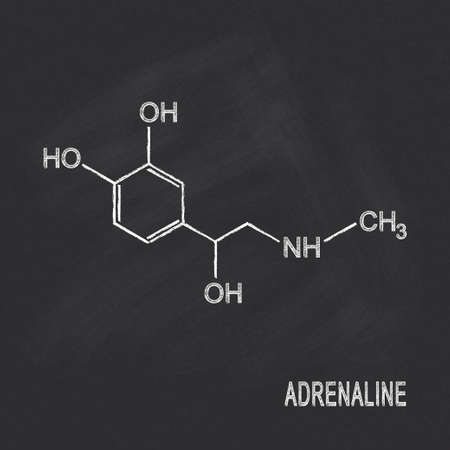 adrenaline: Chemical formula of adrenaline chalked on blackboard Illustration