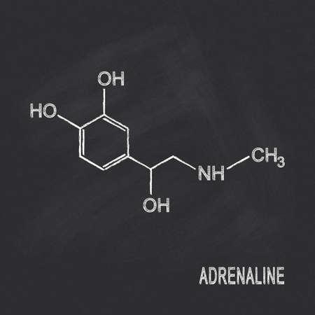 Formule chimique de l'adrénaline écrit à la craie sur le tableau noir