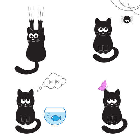 Cute and funny black cat collection  cat with spider, fish, butterfly and sharpening claws Vector