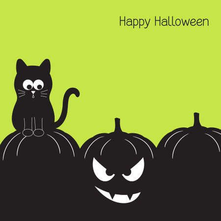 Halloween card with funny black cat and spooky pumpkin Vector