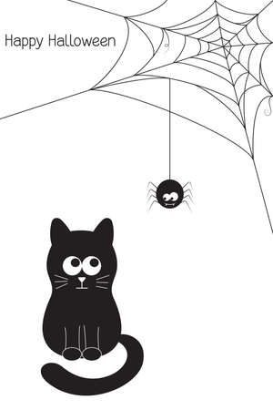 Halloween card with funny black cat, vampire spider and web Vector