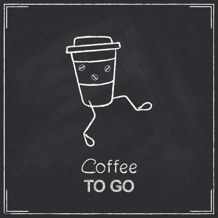 Coffee to go concept chalked on blackboard Illustration