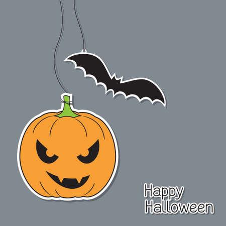 Halloween pumpkin and bat in paper cutout style Vector