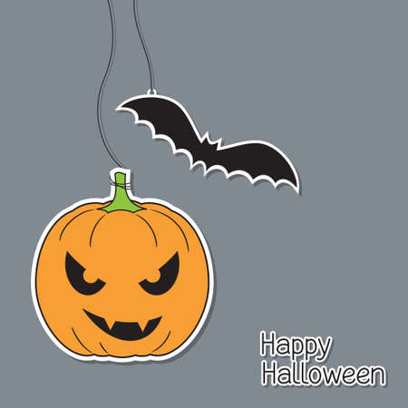 carved pumpkin: Halloween pumpkin and bat in paper cutout style Illustration