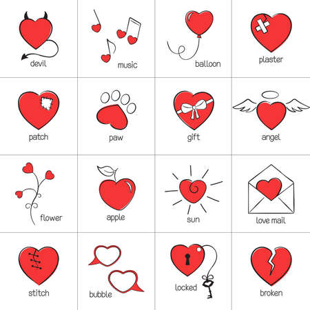 devil and angel: Set of hand drawn heart icons for romantic design Illustration