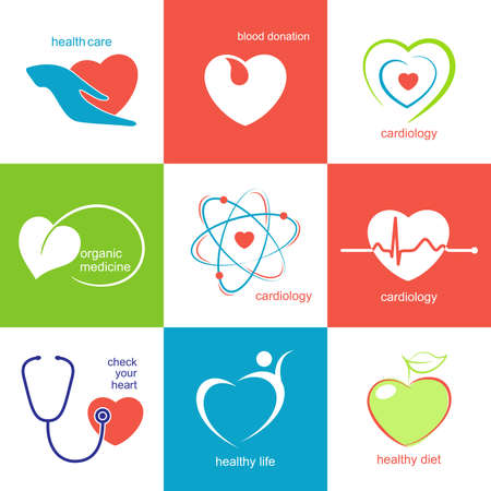 Set of icons and emblems with heart symbol for medicine, health care and cardiology