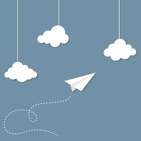 Paper Plane en wolken Stock Illustratie