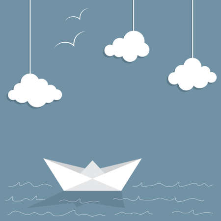 Paper ship and clouds with doodle sea waves and seagulls Illustration