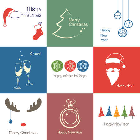 santa moose: Set of icons and emblems for Christmas, New Year and winter design Illustration