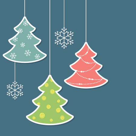 Christmas trees and snowflakes in paper cutout style