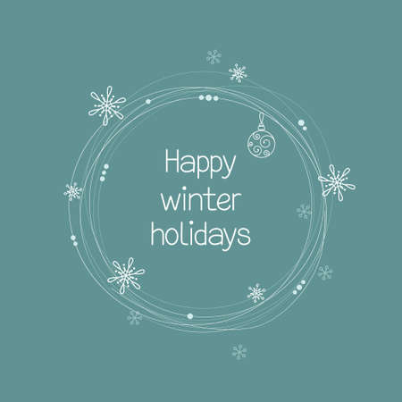 winter holidays: Winter holidays greeting card with stylized Christmas wreath Illustration