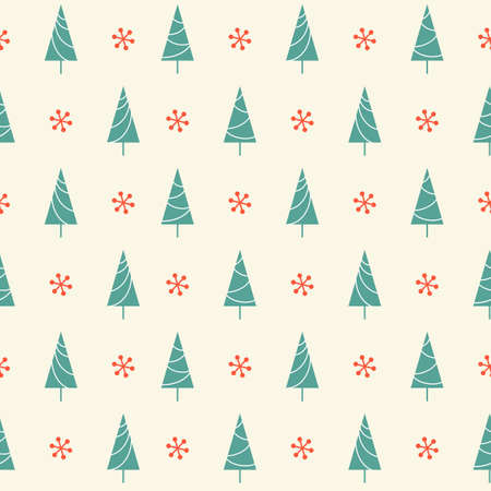 Seamless pattern with Christmas tree and snowflake for winter holidays design Vettoriali