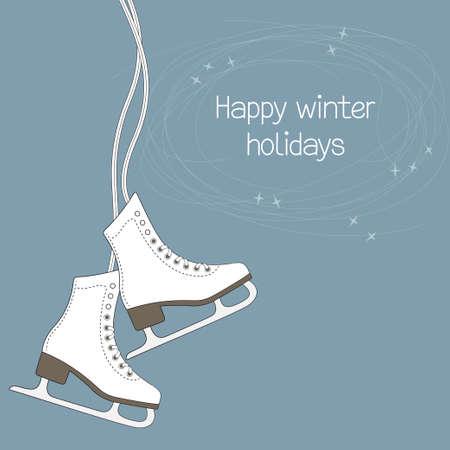 patinaje sobre hielo: Invierno tarjeta de vacaciones con patines de hielo y pistas de la hoja Vectores