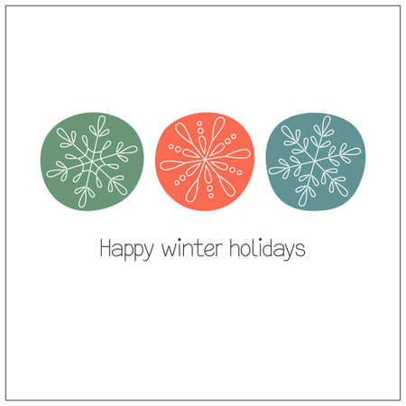 circle shape: Winter holidays greeting card with doodle snowflakes