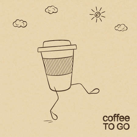 Coffee to go concept with walking cup doodled over rough brown paper