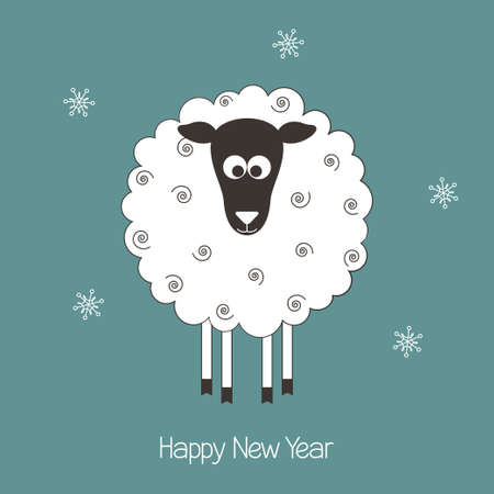 New Year greeting card with cute sheep - symbol of the year 2015 Vector