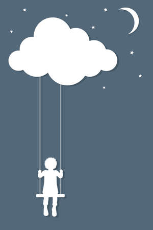 childhood: Child on swings hanging from cloud in paper cutout style Illustration