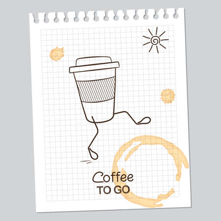 caf: Coffee to go concept with walking cup over squared notebook paper sheet with coffee stains