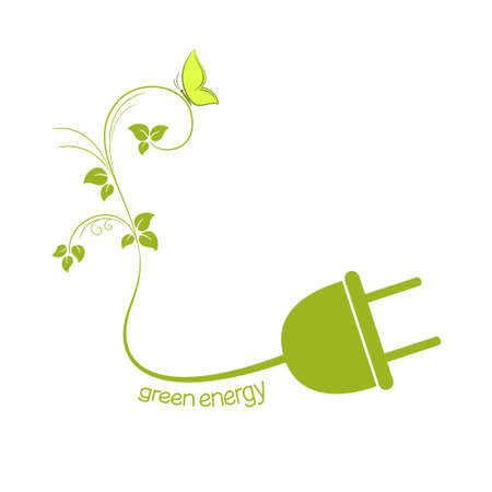 energy conservation: Electric plug with green leaves. Eco friendly energy concept