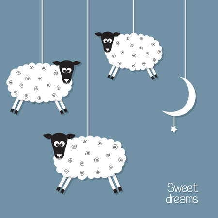 Cute sheep and moon in paper cut out style. Sheep counting concept Vector