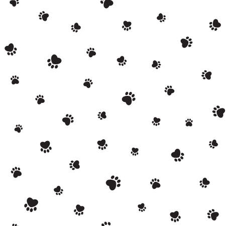 Seamless pattern with heart shaped animal footprints Çizim