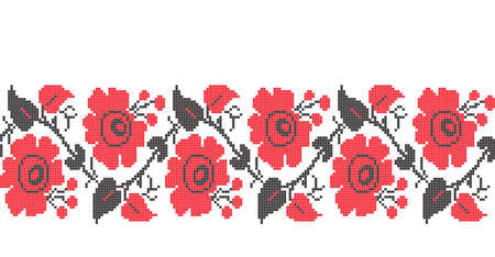 stitches: Floral seamless pattern in Ukrainian traditional cross-stitch embroidery style Illustration
