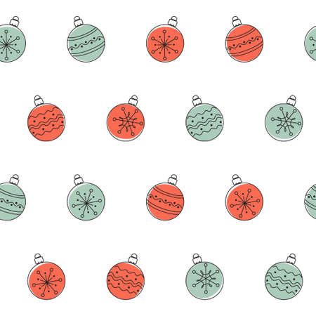 Seamless pattern with doodle Christmas balls Vector