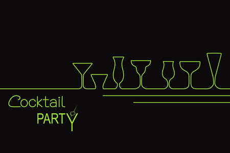 Design for cocktail party invitation or bar menu with different types of cocktail glasses Illustration