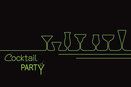 margarita cóctel: Diseño de la invitación del cóctel o menú de la barra con diferentes tipos de vasos de cóctel