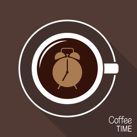 caf: Cup of coffee with alarm clock on its surface. Coffee time or morning coffee cup concept Illustration