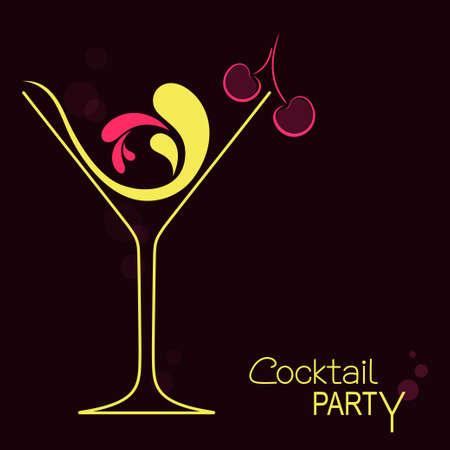 Copa de cóctel con toques abstractos y cereza. Diseño para invitación de cóctel o menú de bar de bebidas.