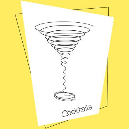 coctel margarita: Dibujo del doodle estilizado de copa de cóctel