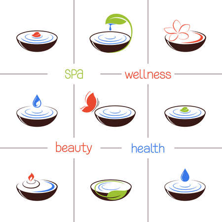 ayurveda: Set of icons and emblems for SPA and ayurveda therapy, beauty treatment and wellness
