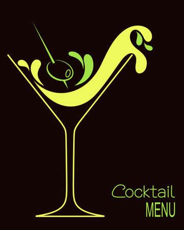 Vidrio de coctel con salpicaduras abstractas y de oliva. Diseño de carta de bebidas bar o invitación del cóctel Ilustración de vector