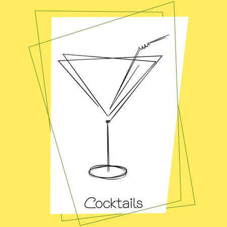 spirituous beverages: Stylized doodle drawing of cocktail glass with straw