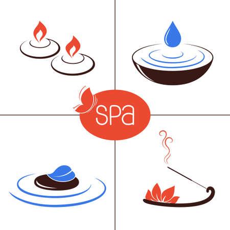 incienso: Conjunto de iconos y emblemas para SPA y terapia ayurveda, tratamientos de belleza, aromaterapia y bienestar Vectores