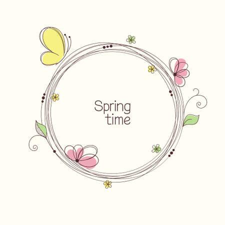 mariposa: Ofrenda floral estilizado con flores y mariposas. Marco floral redondo para el texto