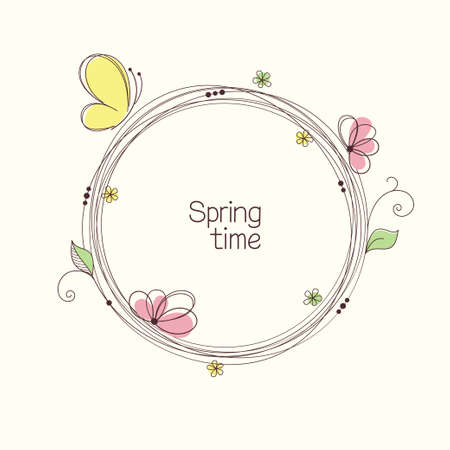 Stylized wreath with flowers and butterfly. Round floral frame for your text Çizim