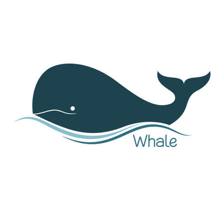 water wave: Whale icon Illustration